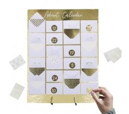Адвент календарь, золотой с конвертами