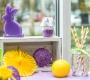 Ceriņu lillā krāsas dekorāciju un lieldienu dekorāciju improvizā