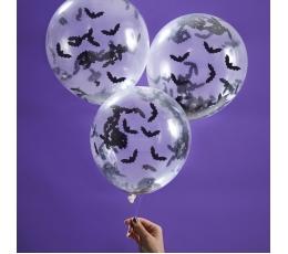 """Baloni ar konfettī """"Sikspārņi"""" (5 gab/ 30 cm)"""