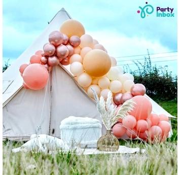 """Balonu vītne - """"Izvedio pats"""", persiku - rozā - zelta krāsa (205 baloni)"""