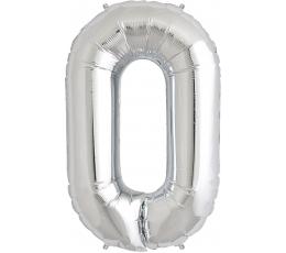 "Follija balons ""0"", sudraba (85cm)"