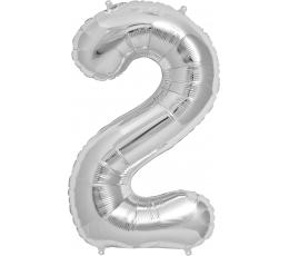 "Follija balons ""2"" , sudraba (85cm)"