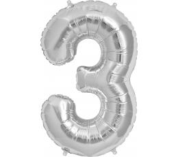"Follija balons ""3"", sudraba (85cm)"