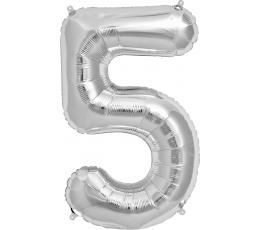 "Follija balons ""5"" , sudraba (85cm)"