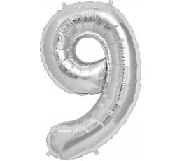 "Follija balons ""9"", sudraba (95cm)"