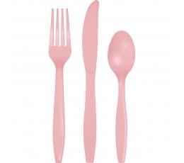 Galda piederumu komplekts, maigi rozā (8-ām personām)