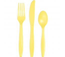 Galda piederumu komplekts, dzeltenīgs (8-ām personām)