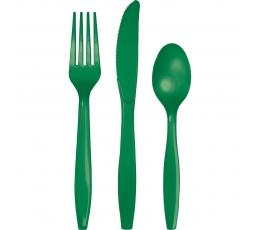 Galda piederumu komplekts, zaļš (8-ām personām)