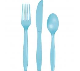 Galda piederumu komplekts, gaiši zils (8-ām personām)