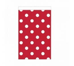 Mini dāvanu maisiņs, sarkans - punktains (20 gab)
