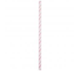 Соломки , нежно розовые  в полоску  (24 шт)