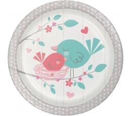 """Šķīvīši """"Putniņi"""", rozā (8 gab/ 18 cm)"""