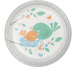 """Šķīvīši """"Putniņi"""", zili (8 gab/18 cm)"""