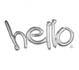 """Фольгированный шарик, надпись """"Hello"""", серебряный"""