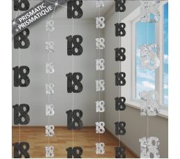 """Karināmās dekorācijas """"18"""", melnas-sudraba (6 gab/ 1,5 m)"""
