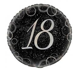 "Folija balons ""18"", melns-sudraba (45 cm)"
