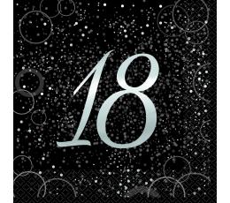 """Салфетки """"Happy 18th Birthday"""", черные с серебряным блеском (16 шт)"""