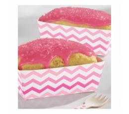 Коробочки для закусок, розовый зигзаг (24 шт)
