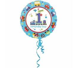 """Folija balons """"1-ā dzimšanas diena, vilcieniņš"""" (45 cm)"""