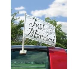 """Karodziņs automašīnai """"Just married"""""""