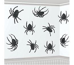 """Karināmas dekorācijas """"Spīdīgi zirnekļi"""" ( 9 gab)"""