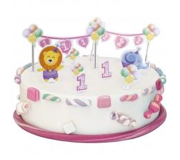 """Tortes dekorāciju komplekts """"Pirmā dzimšanas diena"""" meitenītei"""