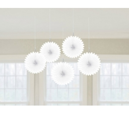 Karināmas dekorācijas, balti vēdekļi (5gab)