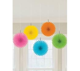 Karināmas dekorācijas - vēdekļi, daudzkrāsaini (5 gab)