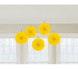 Karināmās dekorācijas-vēdekļi, dzelteni (5 gab)