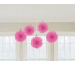 Karināmas dekorācijas, rozā vēdekļi (5gab)