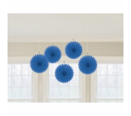 Karināmas dekorācijas, vēdekļi - tumši  zili (5 gab)