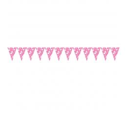 """Karodziņu vītne, """"Rozā ornamenti"""" (2,74 m)"""