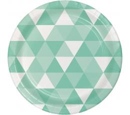 """Šķīvīši """"Ornamenti"""", piparmētru krāsā (8 gab / 18 cm)"""