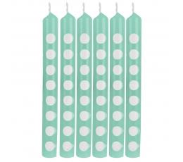 Svecītes, punktainas - piparmētru krāsā (12 gab)