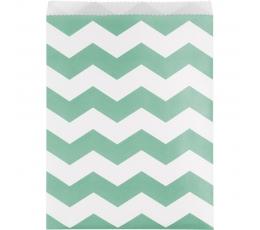 Dāvanu maisiņi, piparmētru krāsas zigzagi (10 gab)