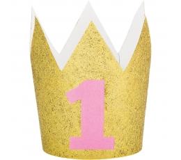 """Kronītis """"1-ā dzimšanas diena"""" zelta ar rozā ciparu"""