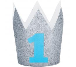 """Kronītis """"1-ā dzimšanas diena"""" sudraba ar zilu ciparu"""