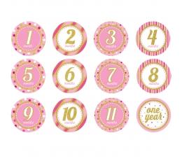 """Uzlīmes """"Pirmais gadiņš"""" , rozā -spīdīgas (12 gab)"""