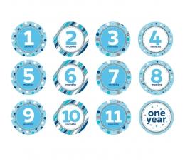 """Uzlīmes """"Pirmais gadiņš"""" , zilas -spīdīgas (12 gab)"""