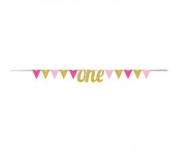 """Karodziņu virtene """"One"""" rozā-zelta"""