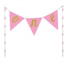 "Tortes dekorācija - virtene ""One"" , rozā"