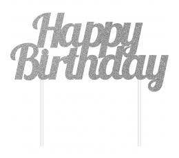 "Tortes dekorācija ""Happy Birthday"" sudraba"