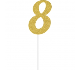 """Tortes dekorācija """"8"""", zelta spīdīga"""