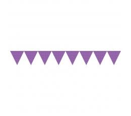 Гирлянда флажками, фиолетовая в горошек (2,74 м)