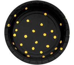 Šķīvīši, melni ar zeltītiem punktiņiem (8 gab/ 18 cm)