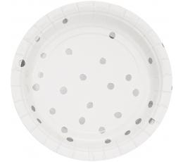 Šķīvīši, balti ar sudrabotiem punktiņiem (8 gab/ 18 cm)