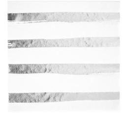 Salvetes, baltas -sudrabotas, svītrainas (16 gab)