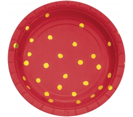 Škīvīši, sarkani ar zelta punktiem (8 gab/ 18cm)