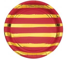Šķīvīši, sarkani ar zelta svītrām (8 gab/ 22 cm)