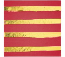 Salvetes, sarkanas-zeltītas, svītrainas (16 gab)